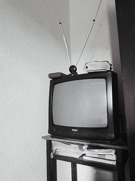 old style tv with aerial